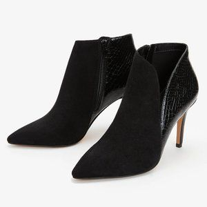 Express | NWT Side Slit Crocodile Texture Booties